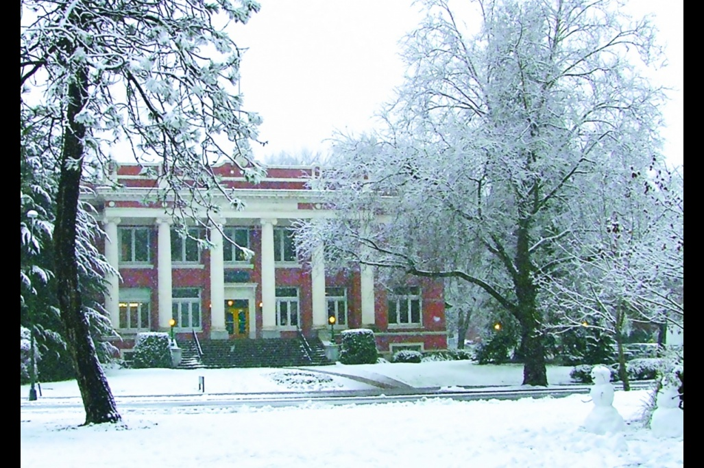 Johnson Hall in snow